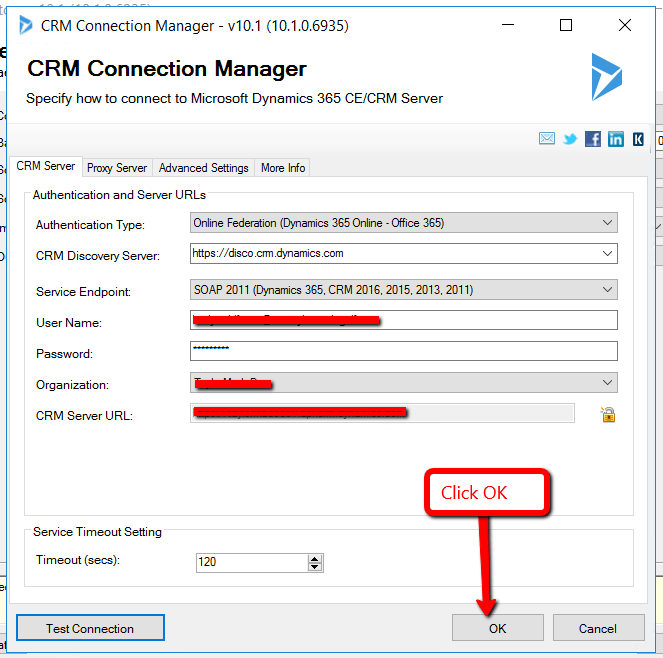 CRM Connection Manager window