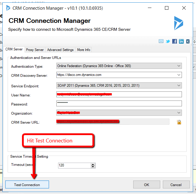 test crm connection manager