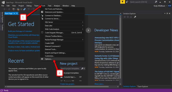 visual studio tools options