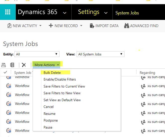 system jobs bulk delete