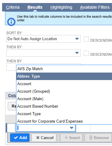 Results tab