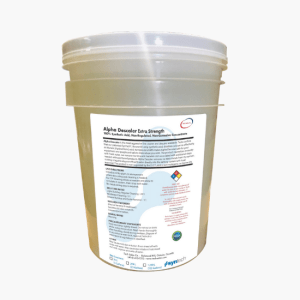 Large tub of Alpha Descaler Extra Strength filled with descaling solution