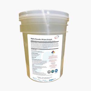 Large tub of Food Safe Alpha Descaler FG Extra Strength filled with descaling solution
