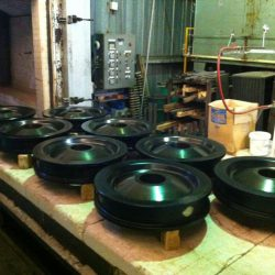 Crane Wheels Flame Hardened and Ready for Tempering