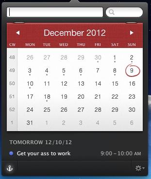 OS X Fantastical Interface