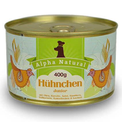 freiland-huehnchen-junior-400g-purinarmes-glutenfreies-hundefutter-dose-muskelfleisch-okra-karotte-apfel-sanddorn-vollkornreis-kokos-lachsoel-alpha-natural