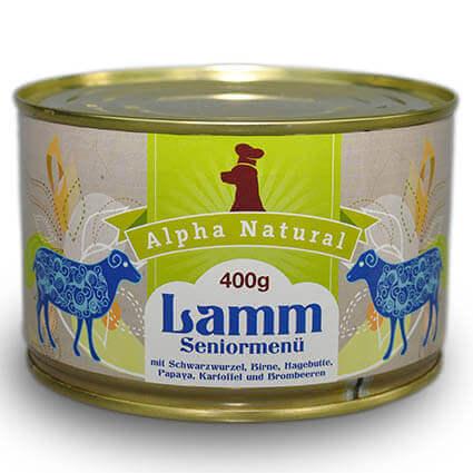 weide-lamm-senior-400g-purinarmes-getreidefreies-glutenfreies-hundefutter-dose-muskelfleisch-schwarzwurzel-kartoffel-birne-hagebutte-papaya-alpha-natural