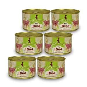 weide-rind-400g-6er-testpaket-purinarmes-glutenfreies-hundefutter-dose-muskelfleisch-mangold-zucchini-birne-leinöl-hirse-kerbel-kuerbiskerne-alpha-natural
