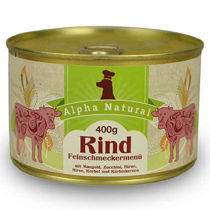 weide-rind-400g-purinarmes-glutenfreies-hundefutter-dose-muskelfleisch-mangold-zucchini-birne-leinöl-hirse-kerbel-kuerbiskerne-alpha-natural