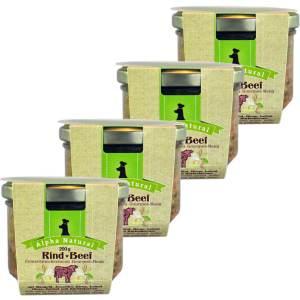 weide-rind-200g-4er-testpaket-purinarmes-glutenfreies-hundefutter-glas-muskelfleisch-mangold-zucchini-birne-leinöl-hirse-kerbel-kuerbiskerne-alpha-natural