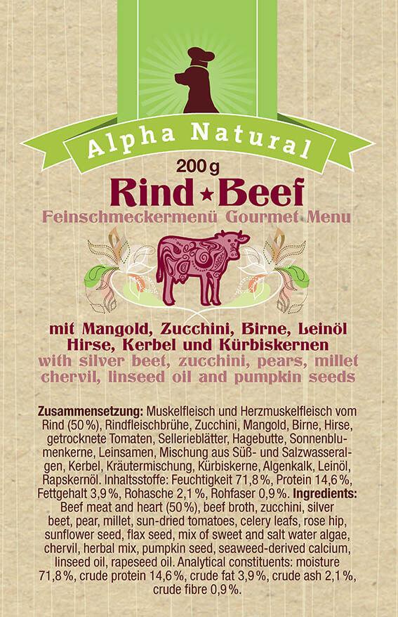 weide-rind-zusammensetzung-purinarmes-glutenfreies-hundefutter-muskelfleisch-mangold-zucchini-birne-leinöl-hirse-kerbel-kuerbiskerne-alpha-natural