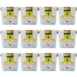 freiland-huehnchen-junior-200g-12er-sparpaket-purinarmes-glutenfreies-hundefutter-glas-muskelfleisch-okra-karotte-apfel-sanddorn-vollkornreis-kokos-lachsoel-alpha-natural