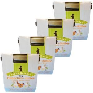 freiland-huehnchen-junior-200g-4er-testpaket-purinarmes-glutenfreies-hundefutter-glas-muskelfleisch-okra-karotte-apfel-sanddorn-vollkornreis-kokos-lachsoel-alpha-natural