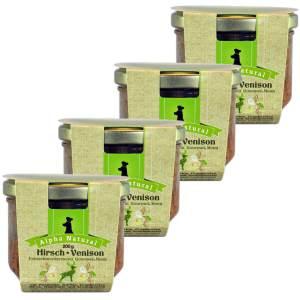 hirsch-200g-4er-testpaket-getreidefreies-purinarmes-glutenfreies-hundefutter-glas-muskelfleisch-pastinake-kuerbis-cranberries-birne-hagebutte-aronia-alpha-natural