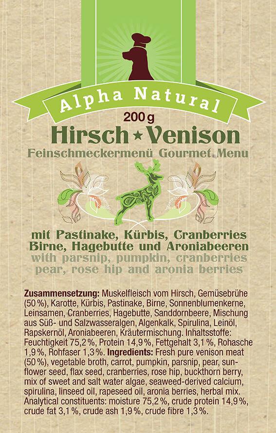 hirsch-zusammensetzung-getreidefreies-purinarmes-glutenfreies-hundefutter-muskelfleisch-pastinake-kuerbis-cranberries-birne-hagebutte-aronia-alpha-natural