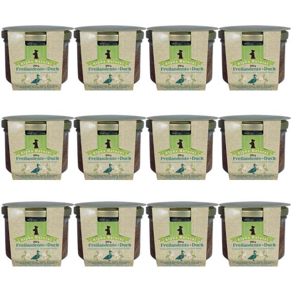 freiland-ente-200g-12er-sparpaket-purinarmes-getreidefreies-hundefutter-glas-muskelfleisch-sellerie-apfel-kartoffel-rosmarin-hagebutte-alpha-natural