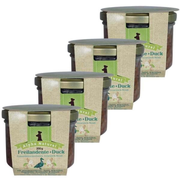 freiland-ente-200g-4er-testpaket-purinarmes-getreidefreies-hundefutter-glas-muskelfleisch-sellerie-apfel-kartoffel-rosmarin-hagebutte-alpha-natural