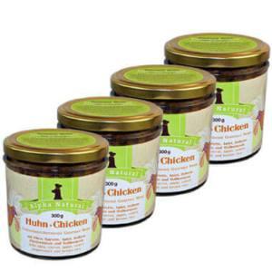 freiland-huhn-300g-4er-testpaket-purinarmes-glutenfreies-hundefutter-glas-muskelfleisch-okra-karotte-apfel-sellerie-pfefferminze-vollkornreis-alpha-natural