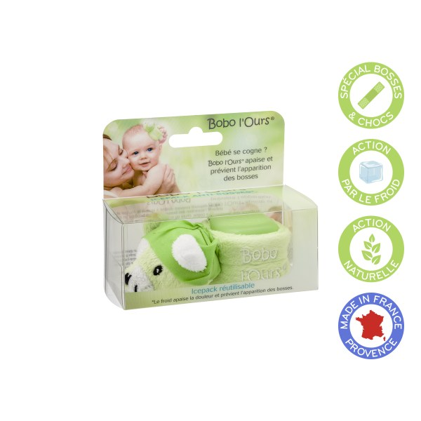 Bobo the bear (green) soothes and prevents the appearance of bumps