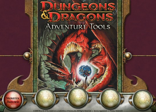 Adventure Tools, showing the spaces for future functionality that never arrived