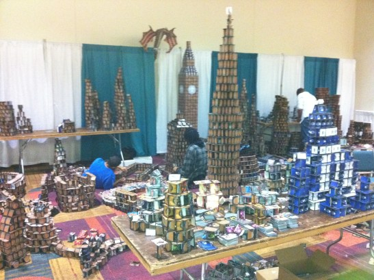 An annual favorite: the towers constructed fromthe CCGs found in swag bags!