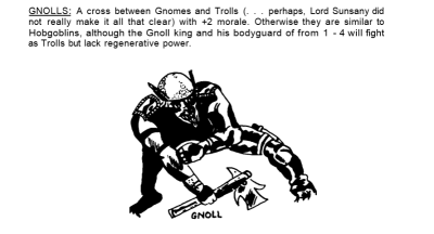 Gnolls were originally gnome-troll hybrids!
