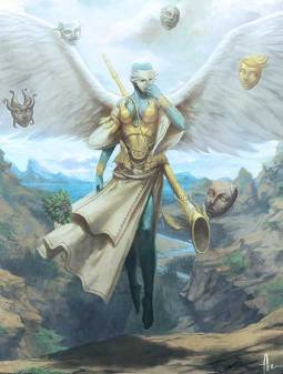 An angel wearing a mask, surrounded by other possible masks. Art by Andrew Hou.