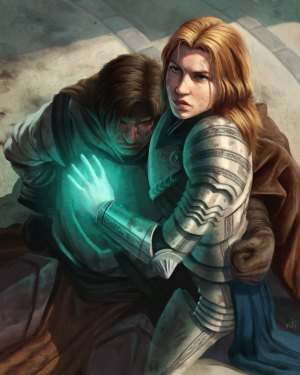 Art by Toni Foti of a cleric or paladin healing a downed warrior.