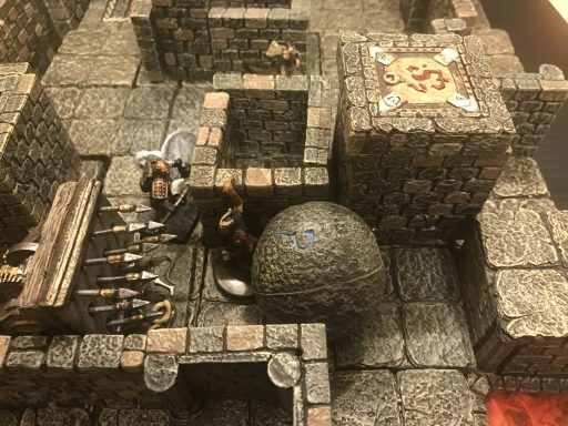 Dwarven Forge terrain is used to create bottlenecks and pressure the characters with dangerous traps.