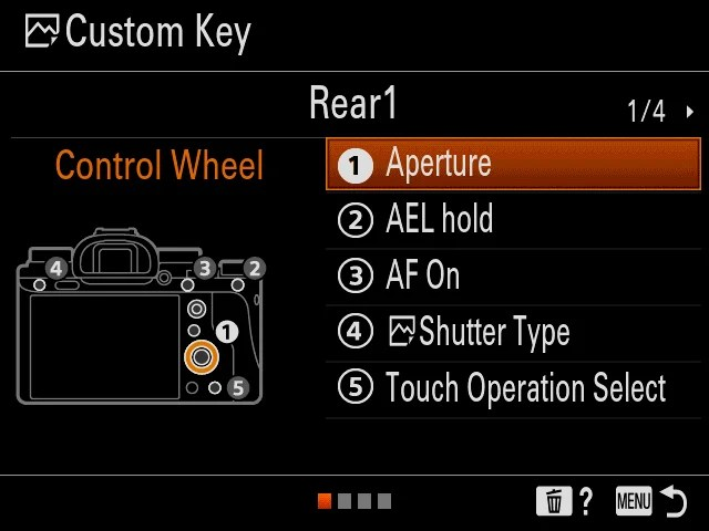 Sony a9: Revised Custom Key menu