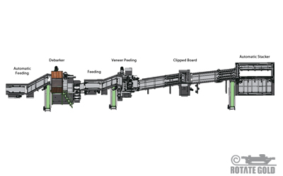 Veneer peeling production line for 4 feet ( Thick core )