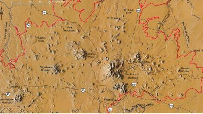 Digital elevation map of the San Francisco Volcanic Field in Northern Arizona. (source: AZGS)