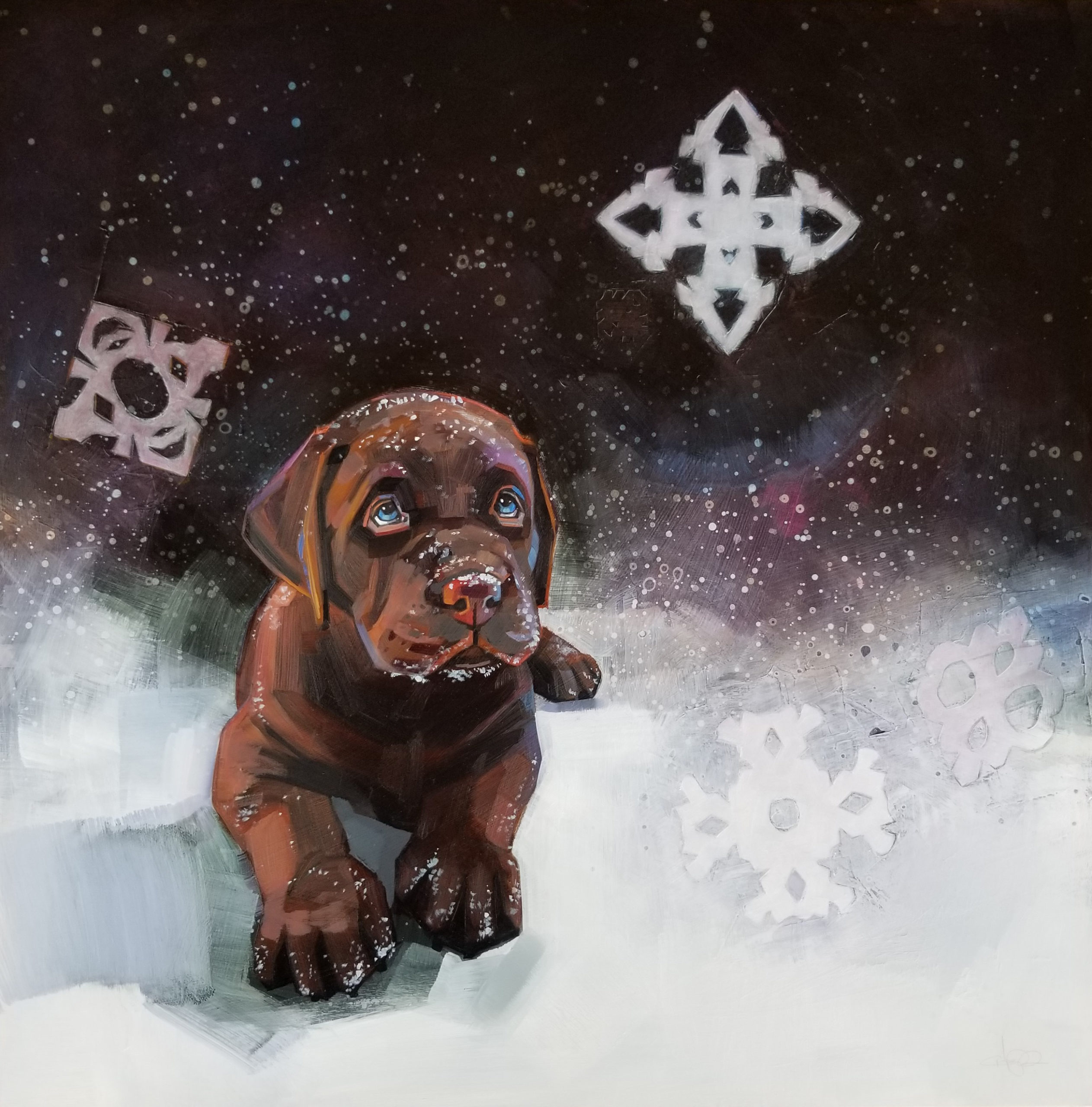 oil painting, chocolate lab puppy