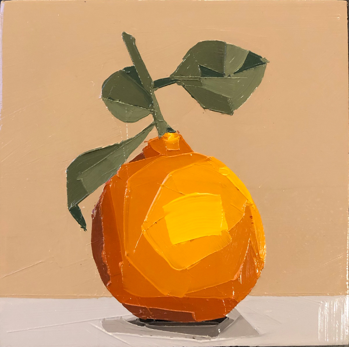 Orange on a vine, oil painting