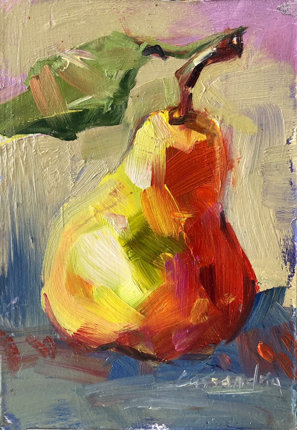 oil painting, pear