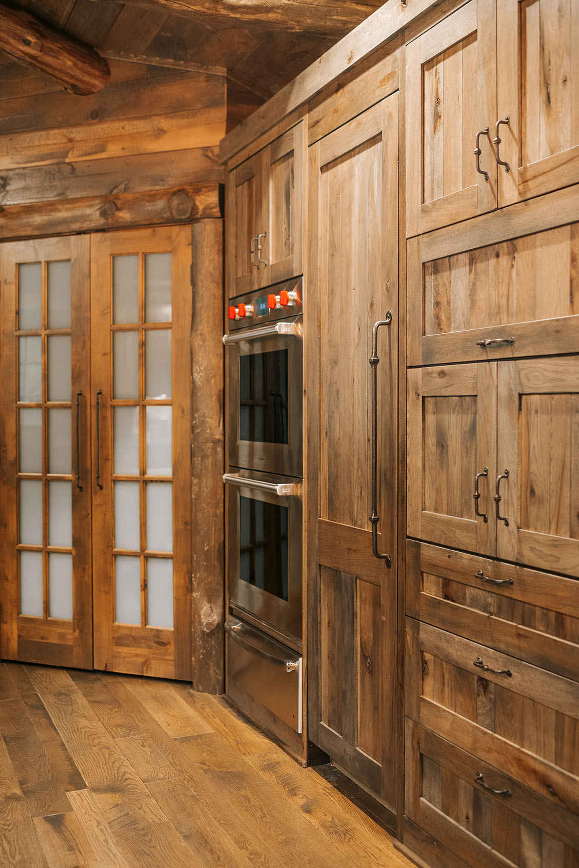 Distressed Rustic Hickory Wall Cabinets Alpine Cabinetry