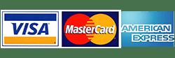 Pay by Visa, Mastercard, or American Express