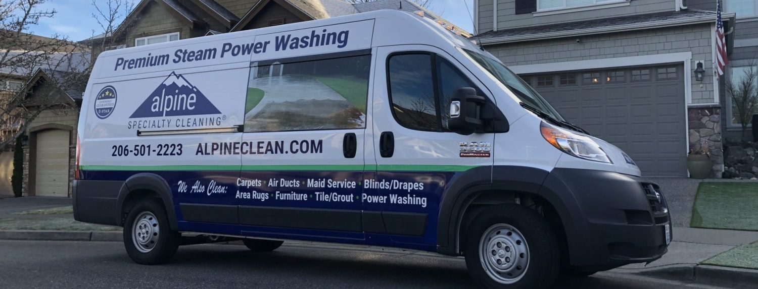 Seattle Alpine Clean Power Washing Van in front of a house