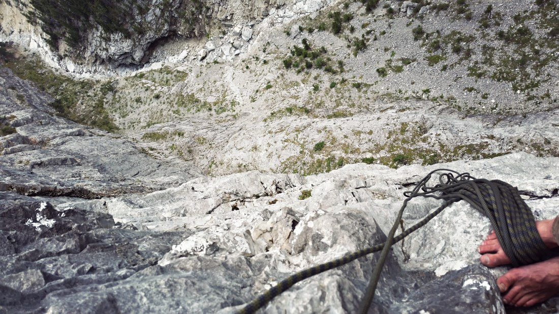 Looking down the Top Pitch of Tall Storey in Echo Canyon