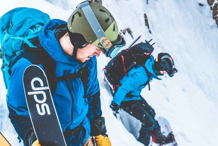 Scoping out the grand daddy couloir before dropping in