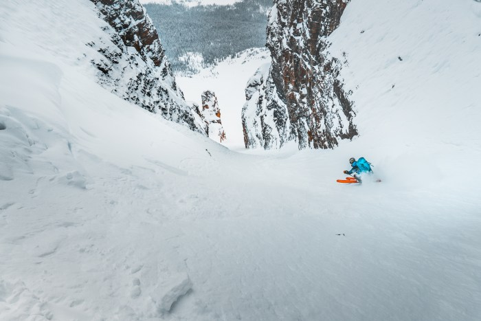 Brandon ripping the mid section of the Grand daddy Couloir