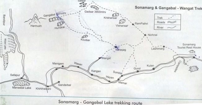 Kashmir great lakes trek Map