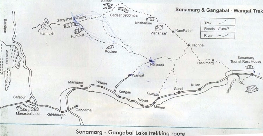 Kashmir Great Lakes Trek Map