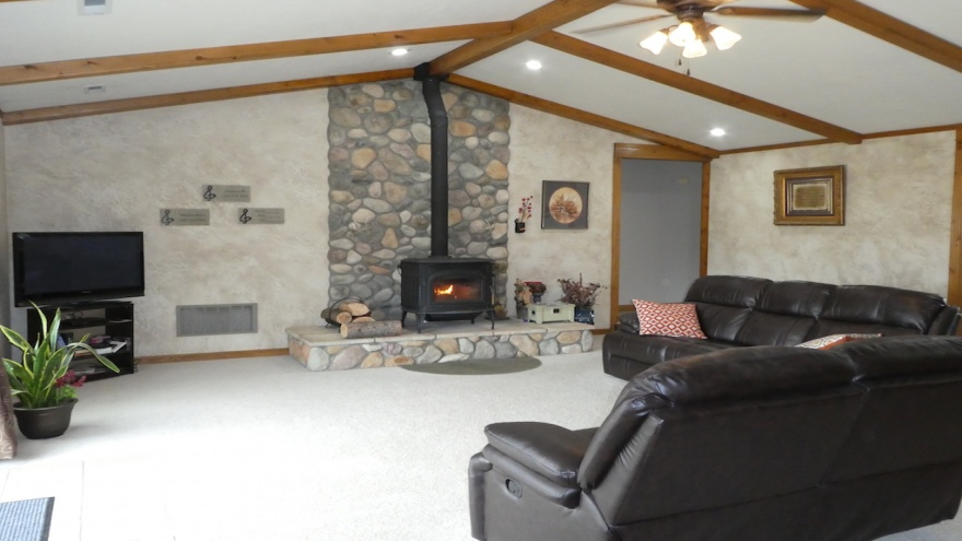 Vaulted Ceilings with Wood Beam Accents