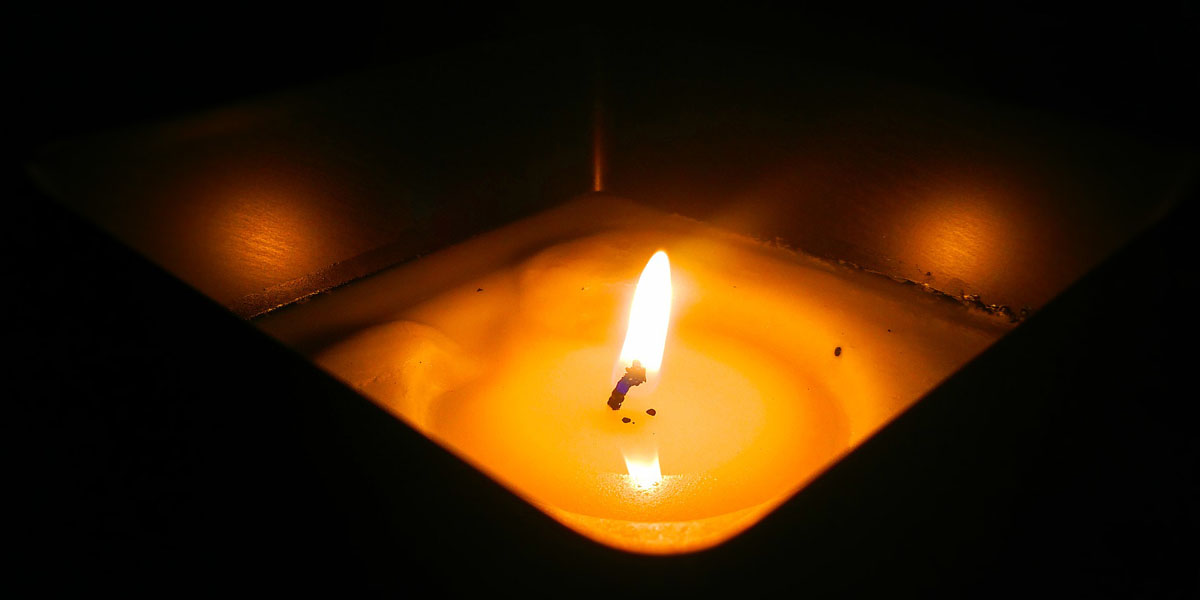 Flame on a citronella candle