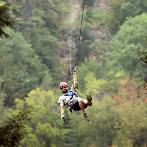 Casually Ziplining Above the Trees