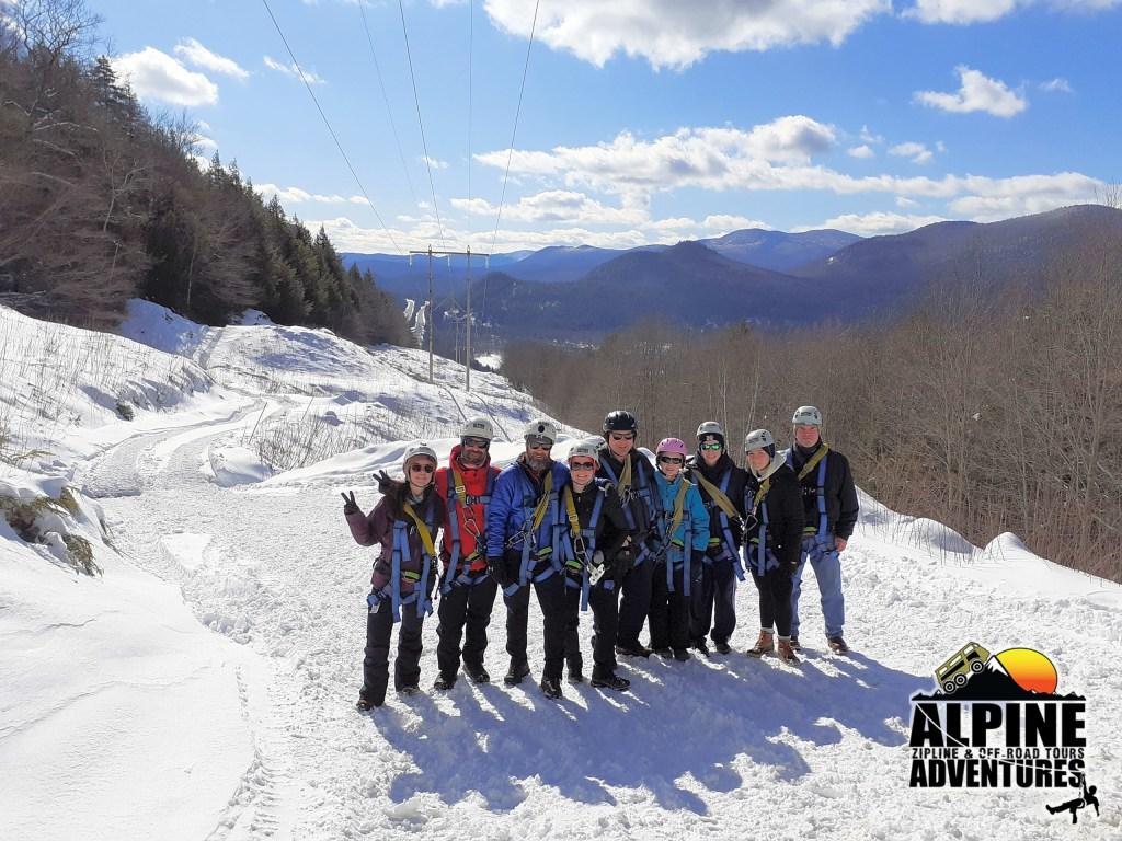 Winter Ziplining Group Tour