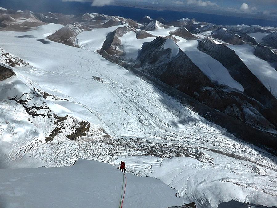 Nearing the summit on day five. [Photo] Nick Bullock