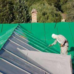 Покраска крыши дома альпинистами