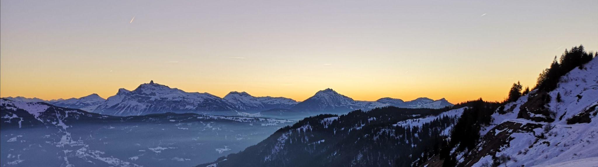 panorama raquettes photo hiver